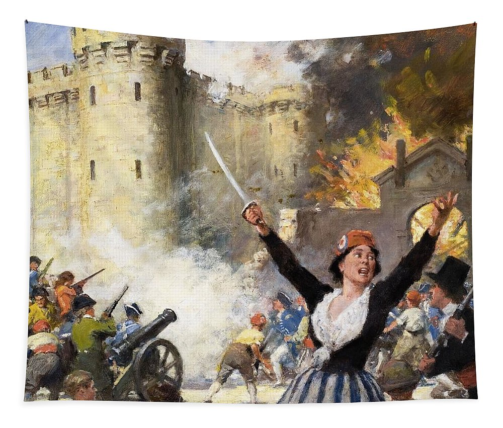 France Tapestry featuring the drawing Storming The Bastille by English School