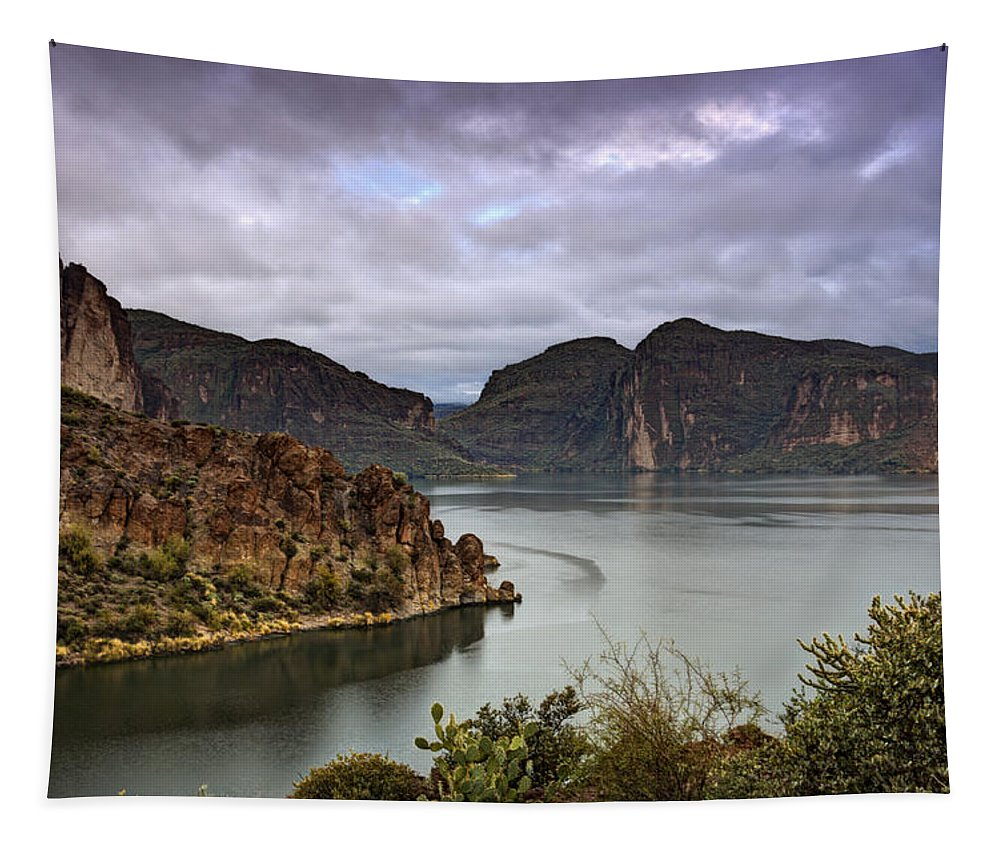 Canyon Lake Tapestry featuring the photograph Stormy Day At The Lake by Saija Lehtonen
