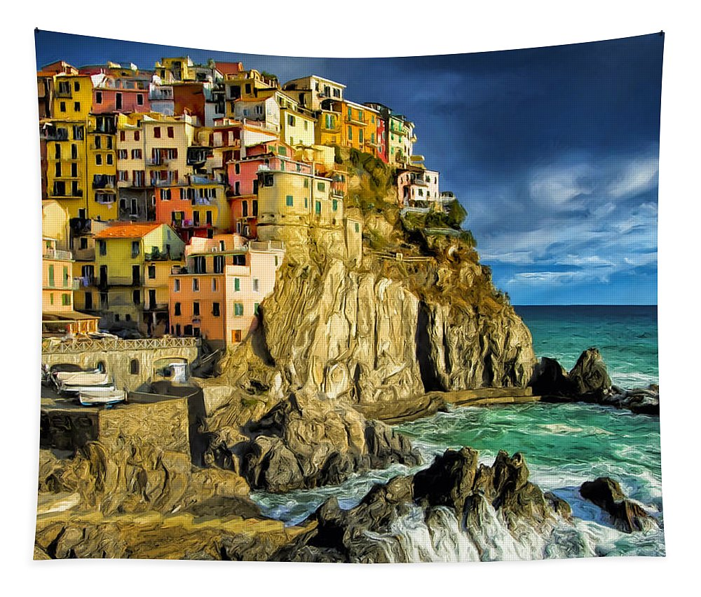 Stormy Tapestry featuring the painting Stormy Day In Manarola - Cinque Terre by Dominic Piperata