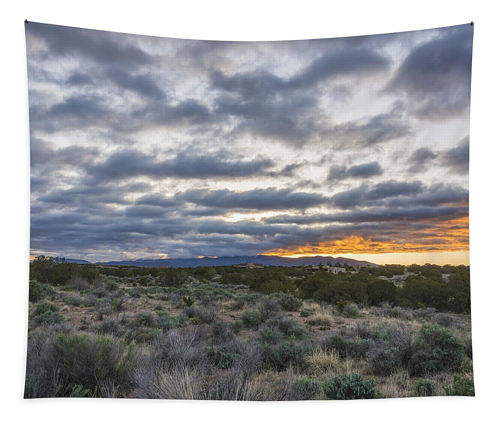 Sangre De Christo Santa Fe Sunrise Northern New Mexico Nm Tapestry featuring the photograph Stormy Santa Fe Mountains Sunrise - Santa Fe New Mexico by Brian Harig