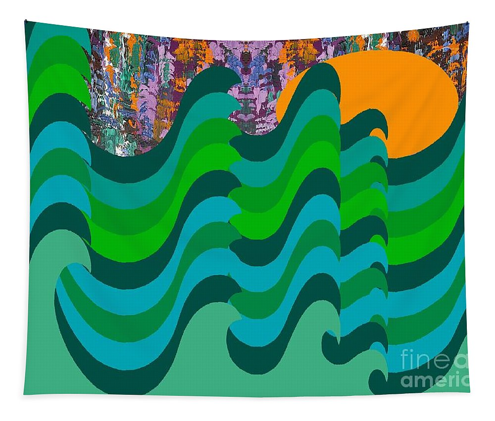 Landscapes Tapestry featuring the painting Stormy Sea by Patrick J Murphy