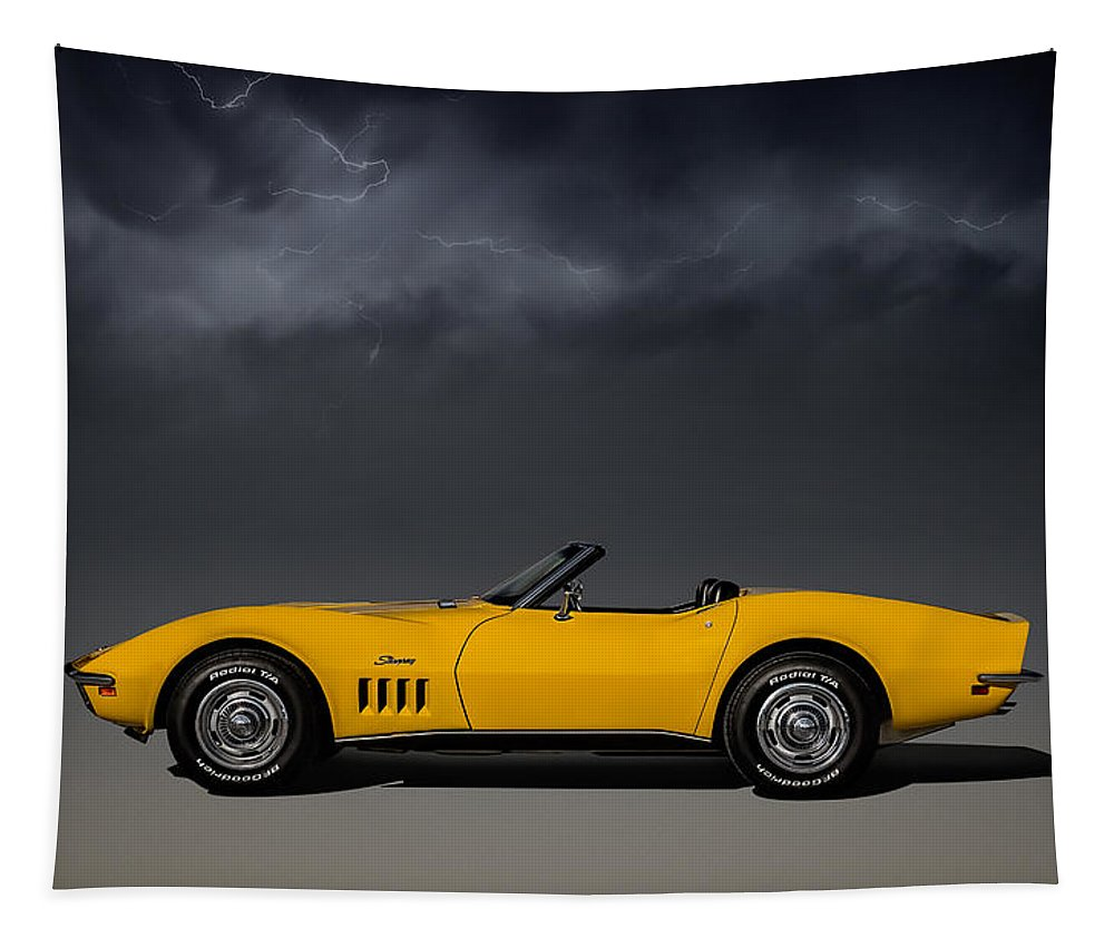 Corvette Tapestry featuring the digital art Stormy Weather by Douglas Pittman