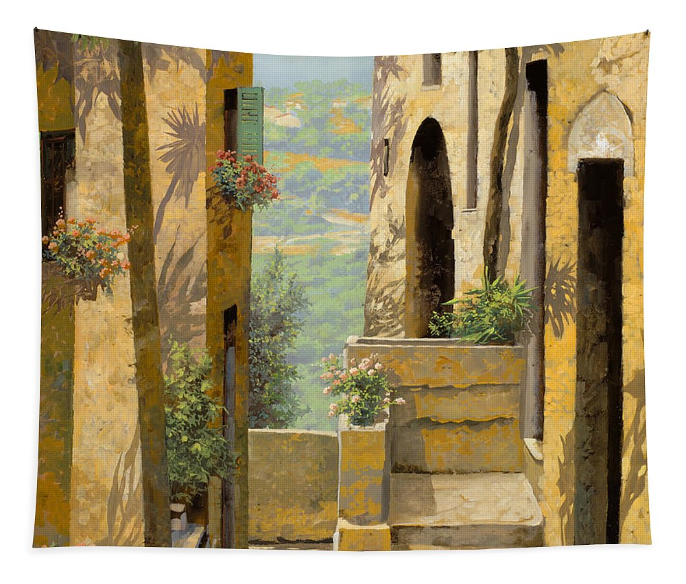 Landscape Tapestry featuring the painting stradina a St Paul de Vence by Guido Borelli