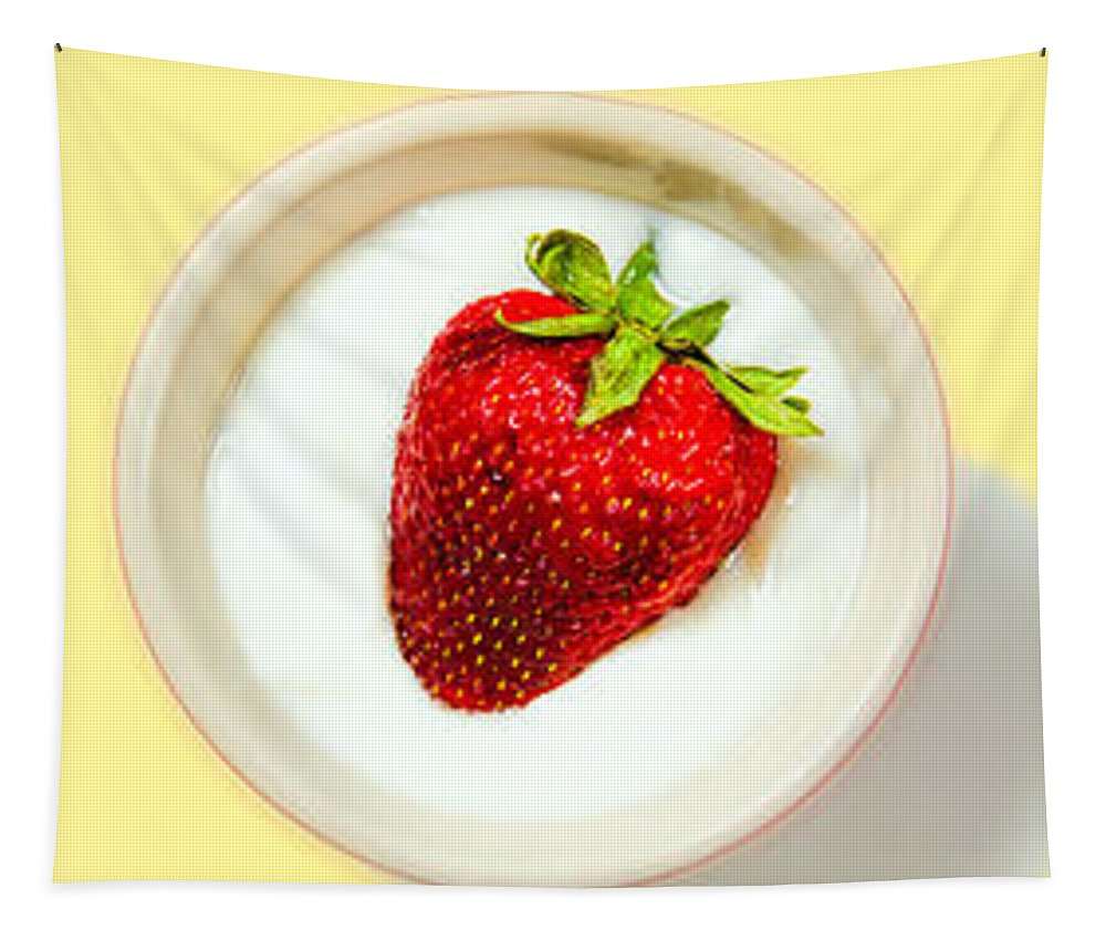 Food Tapestry featuring the photograph Strawberry And Cream by Bob Orsillo