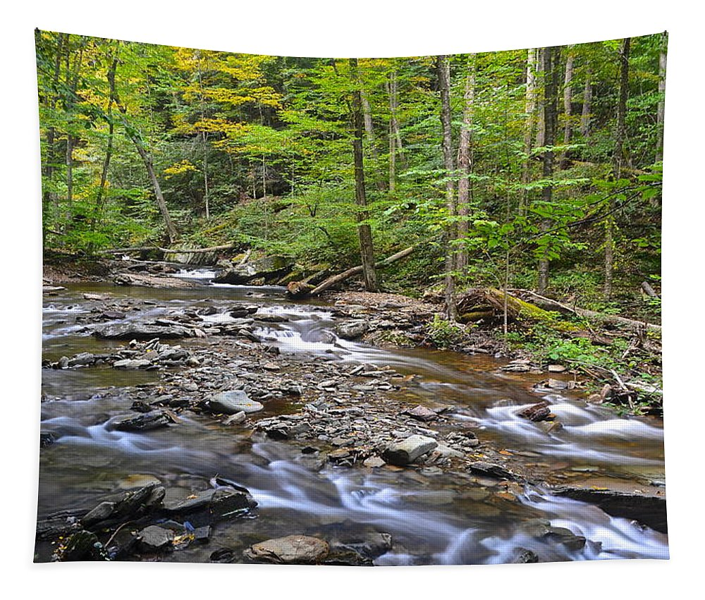 Stream Tapestry featuring the photograph Stream Of Serenity by Frozen in Time Fine Art Photography