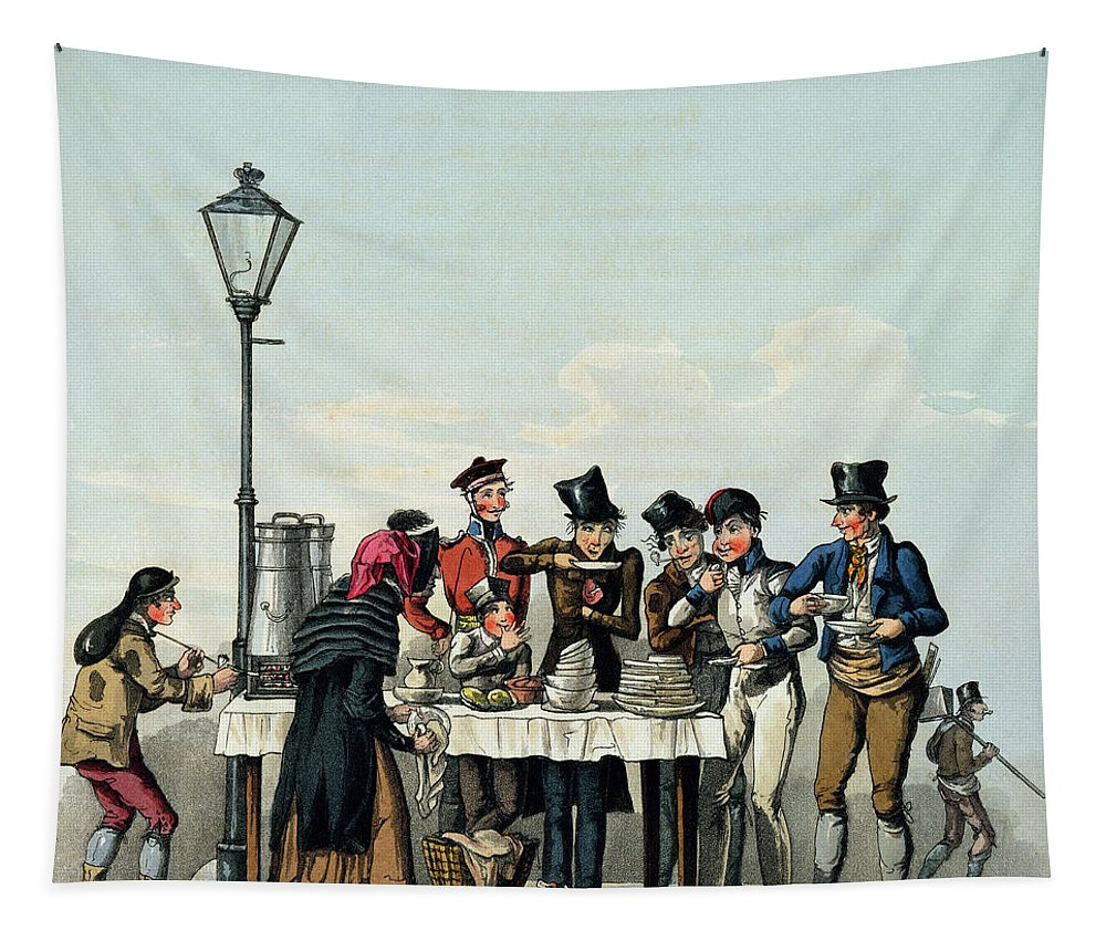 Meal Tapestry featuring the drawing Street Breakfast Engraved By G.hunt by English School