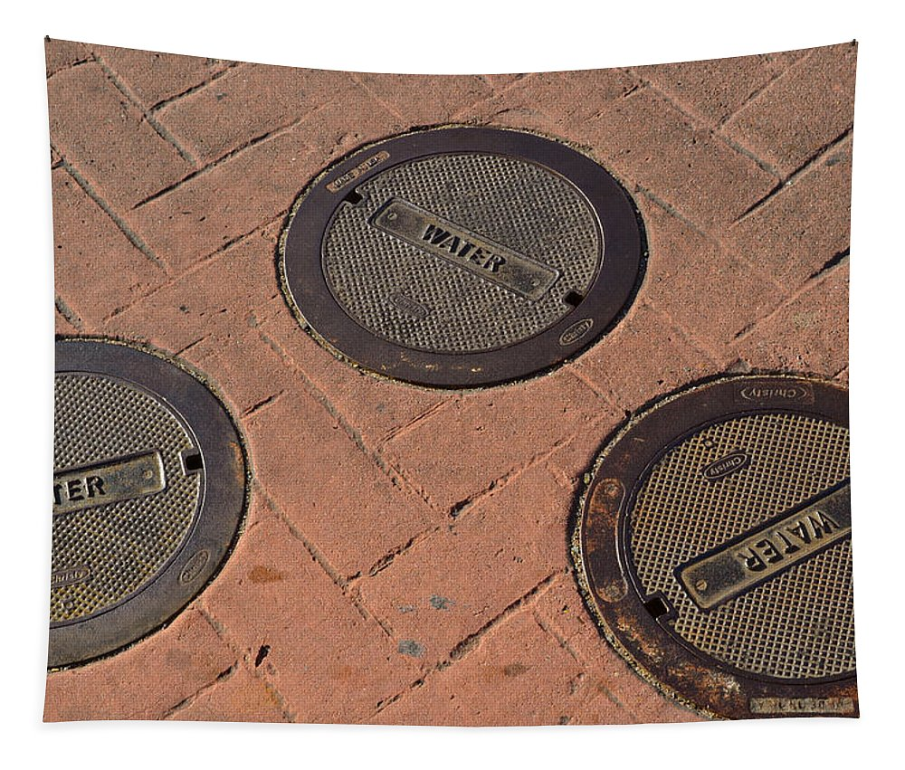 Sign Photographs Tapestry featuring the photograph Street Water Covers by Bill Owen