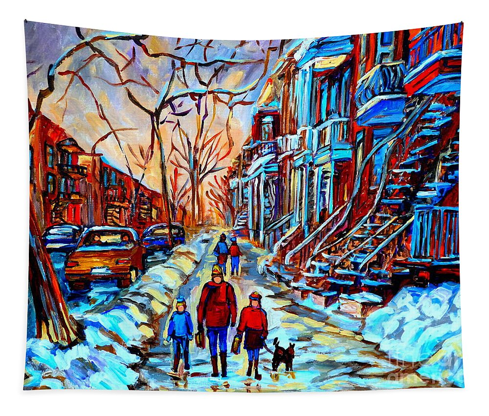 Montreal Tapestry featuring the painting Streets Of Montreal by Carole Spandau