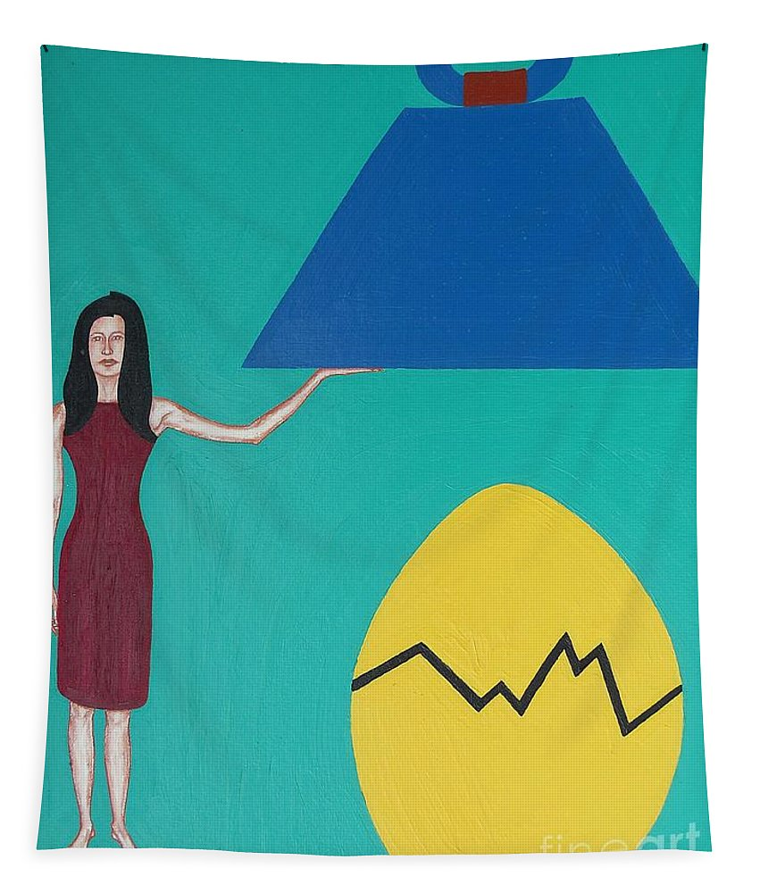 Egg Tapestry featuring the painting Stronger Than You Think by Patrick J Murphy