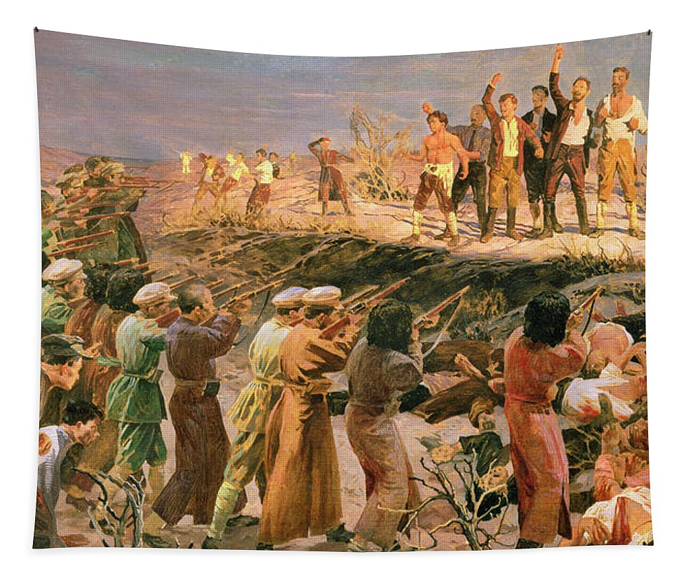 Isaak Israilevich Brodsky Tapestry featuring the painting Study For The Execution Of The Twenty Six Baku Commissars by Isaak Israilevich Brodsky