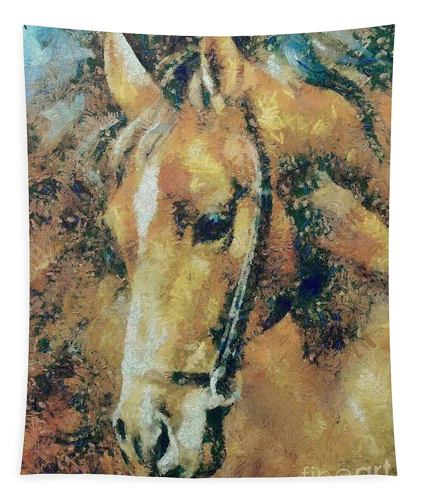Horse Tapestry featuring the painting Study Of A Horse's Head by Dragica Micki Fortuna