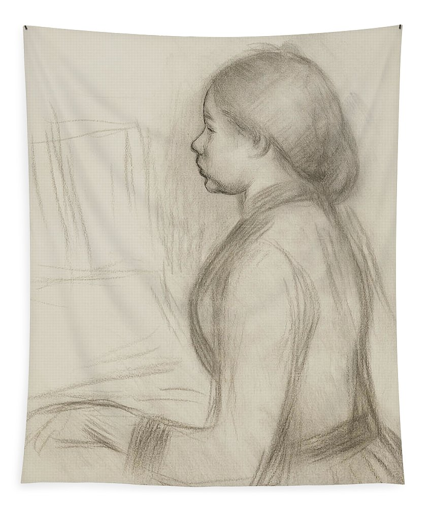 Attire Tapestry featuring the drawing Study Of A Young Girl At The Piano by Pierre Auguste Renoir