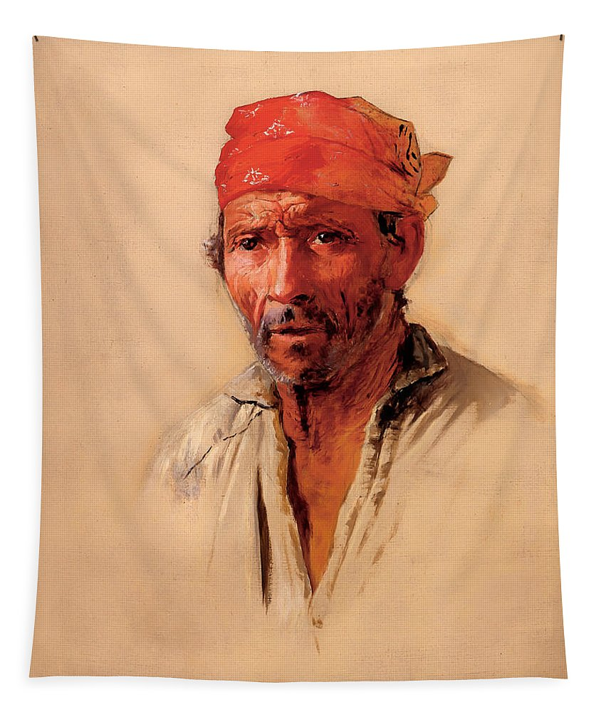 Man Tapestry featuring the painting Study Of Caipira's Head by Mountain Dreams