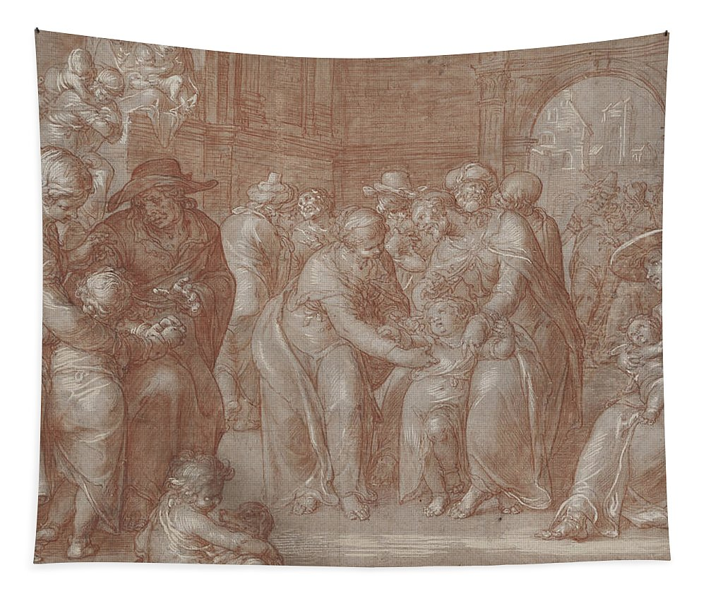 Suffer Tapestry featuring the drawing Suffer The Little Children To Come Unto Me by Joachim Wtewael or Utewael