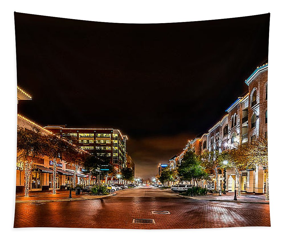 Sugar Land Town Center Tapestry featuring the photograph Sugar Land Town Square by David Morefield
