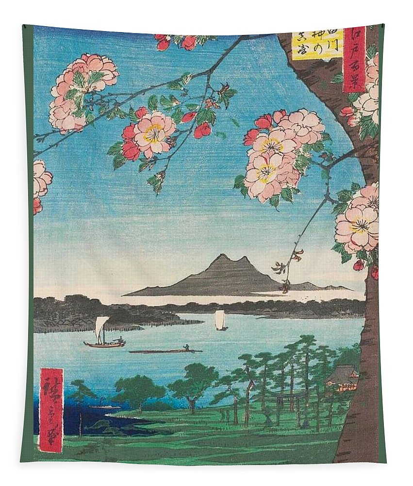 1856 Tapestry featuring the painting Suijin Shrine And Massaki On The Sumida River by Utagawa Hiroshige