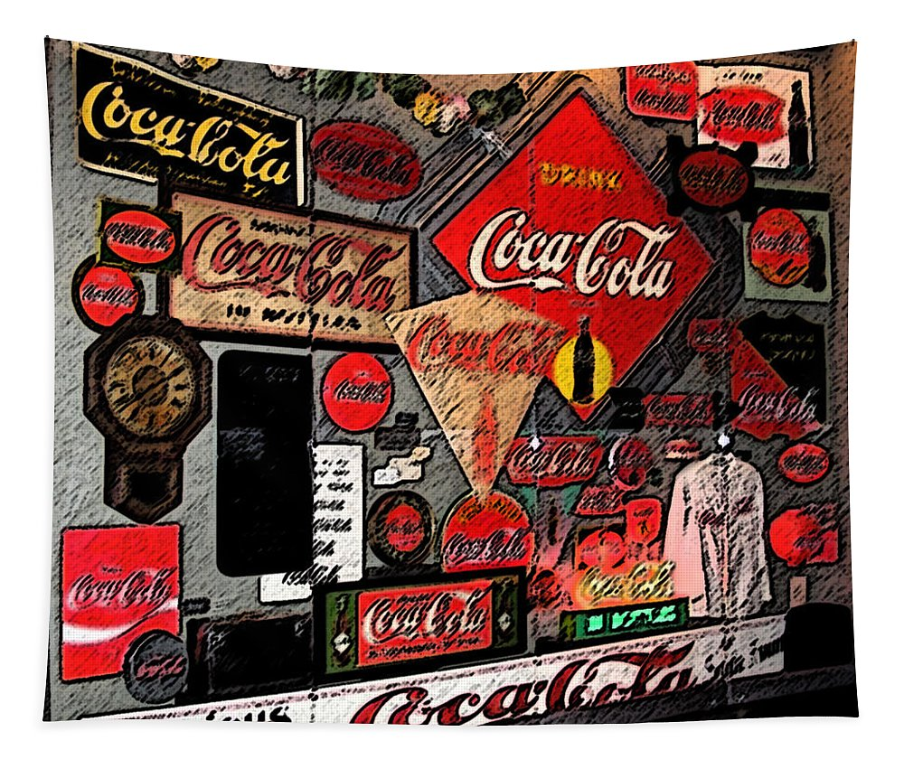 Digital Art Tapestry featuring the photograph Sumi-e Styled Coca Cola Signs by Marian Bell