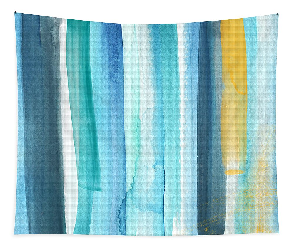 Water Tapestry featuring the painting Summer Surf- Abstract Painting by Linda Woods