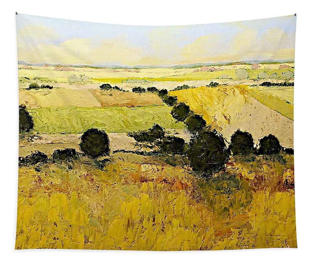 Landscape Tapestry featuring the painting Summers End by Allan P Friedlander