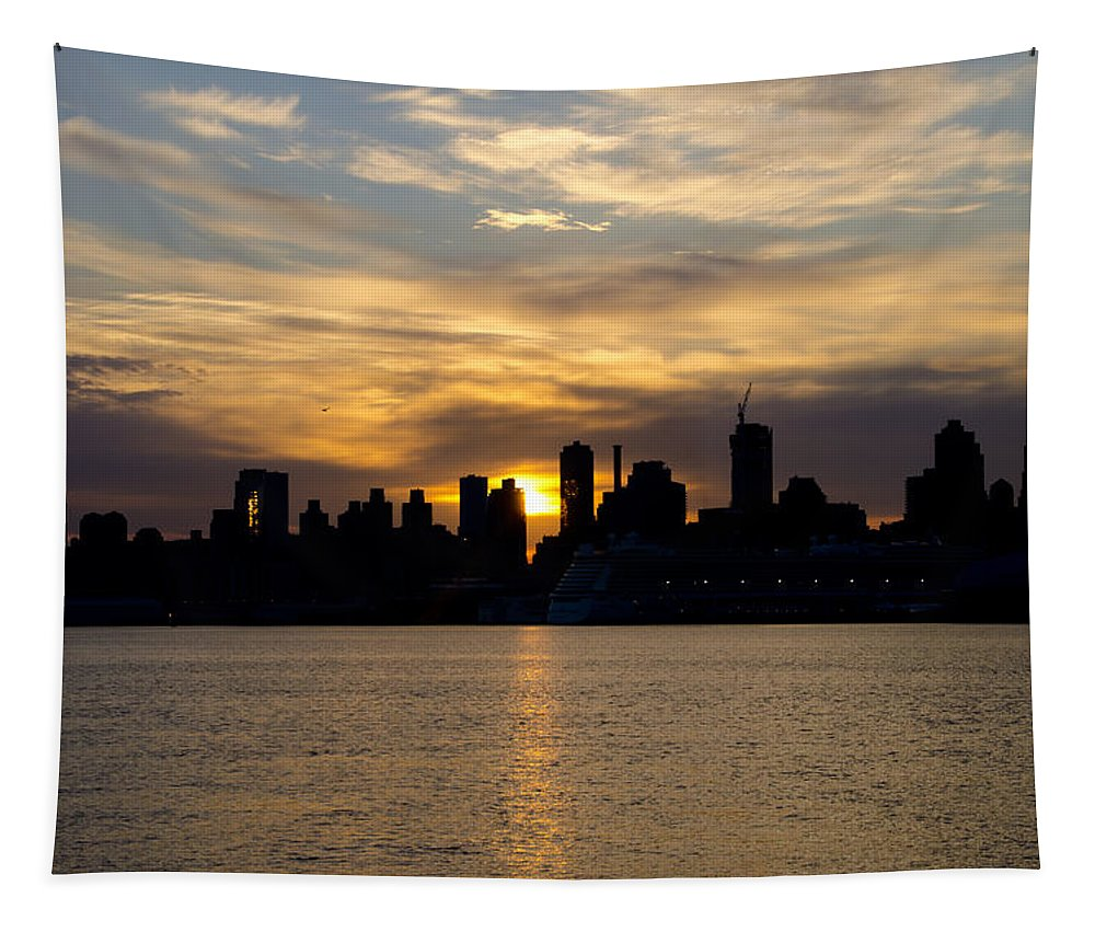 Sun Tapestry featuring the photograph Sun Comes Up On New York City by Bill Cannon