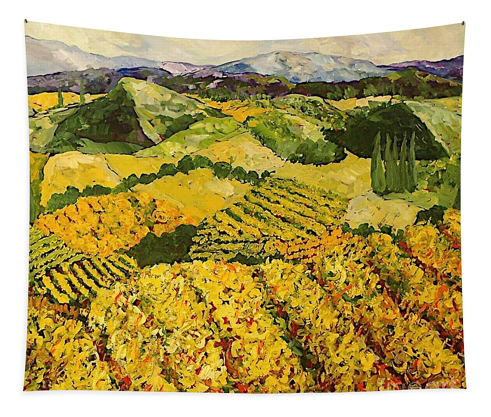 Landscape Tapestry featuring the painting Sun Harvest by Allan P Friedlander