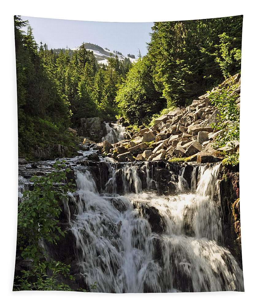 Rocks Tapestry featuring the photograph Sunbeam Creek Falls by Tikvah's Hope