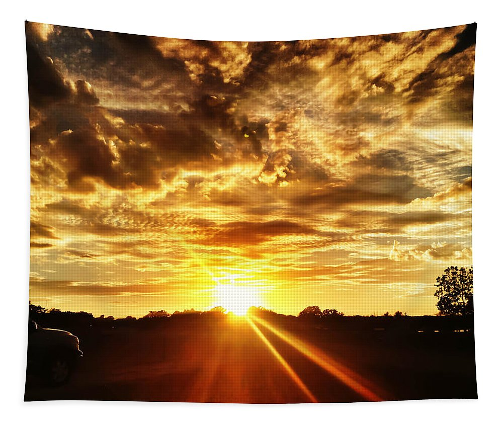 Sunset Tapestry featuring the photograph Sunburst by Debra Martz