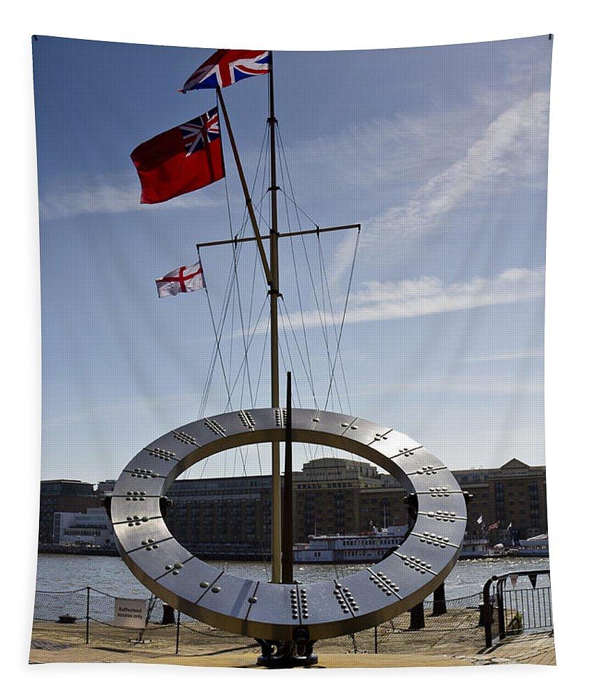 Sun Tapestry featuring the photograph Sundial St Katherines Dock by David Pyatt
