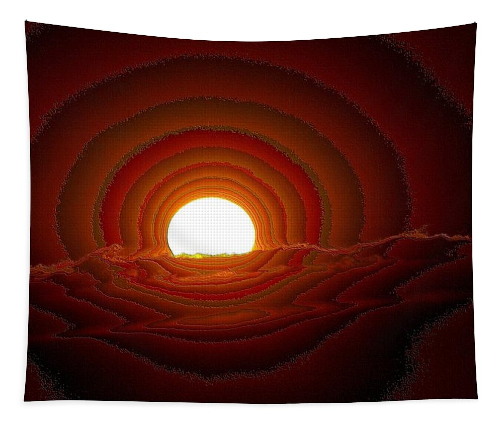 Sun Tapestry featuring the photograph Sunfall Behind The Mountains by Jeff Swan