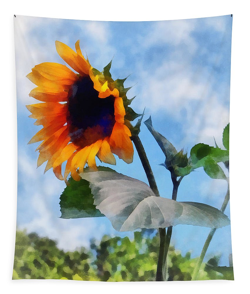 Sunflower Tapestry featuring the photograph Sunflower Against The Sky by Susan Savad