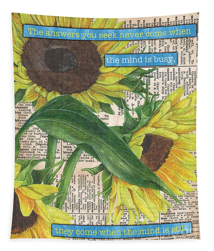 Floral Tapestry featuring the painting Sunflower Dictionary 1 by Debbie DeWitt