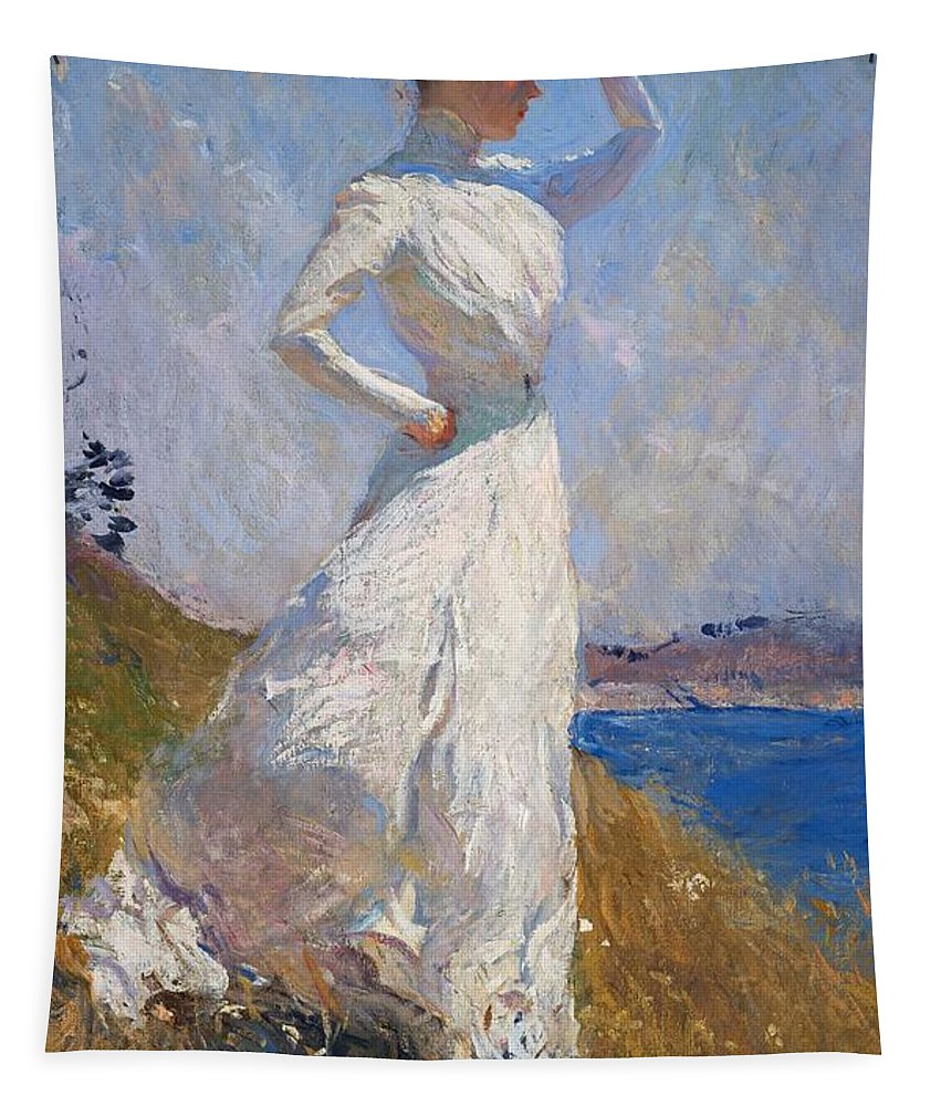 Sunlight Tapestry featuring the painting Sunlight Frank Weston Benson 1909 by Movie Poster Prints