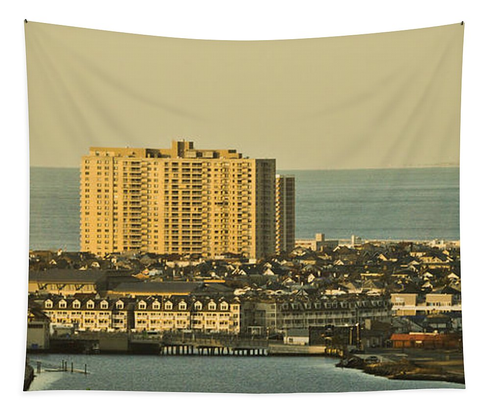Seashore Tapestry featuring the mixed media Sunny Day In Atlantic City by Trish Tritz