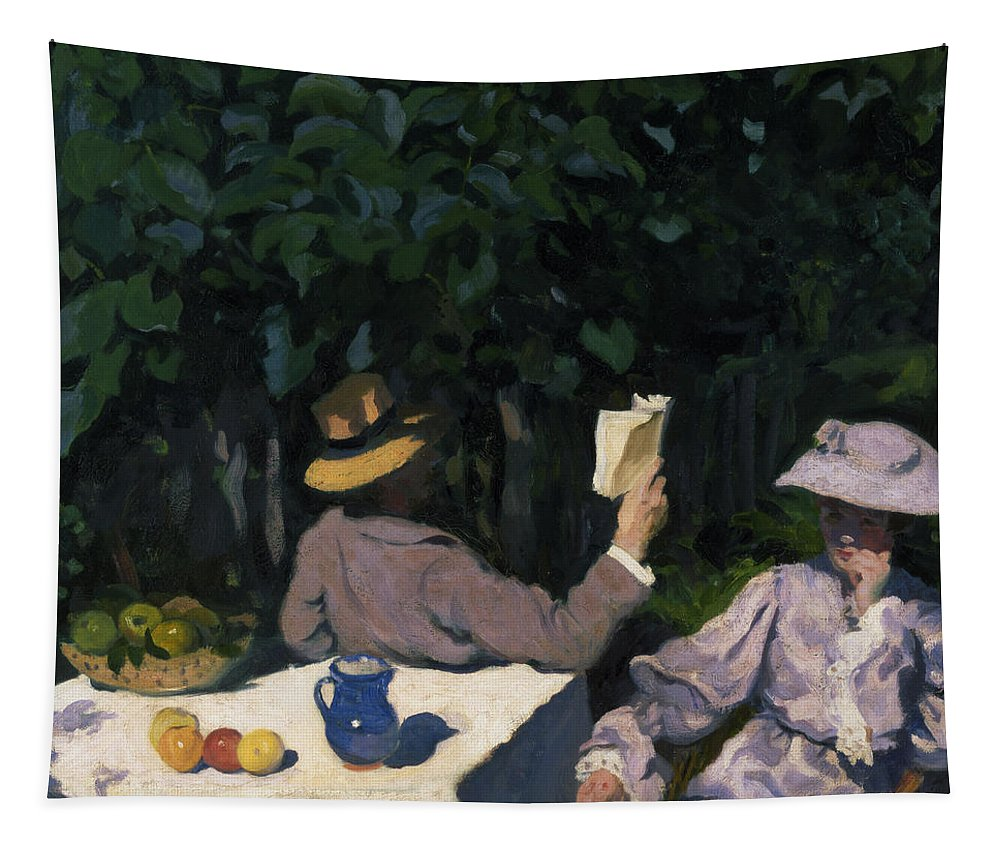 Male; Female; Seated; Reading; Fruit Bowl; Edwardian Costume Tapestry featuring the painting Sunny Morning by Karoly Ferenczy