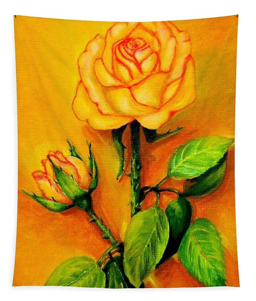 Rose Tapestry featuring the painting Sunny Rose by Zina Stromberg