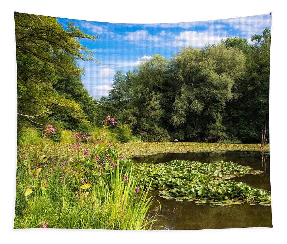 Landscape Tapestry featuring the photograph Sunny Summer Day At The Lake Beautiful Green And Blue Colors by Matthias Hauser