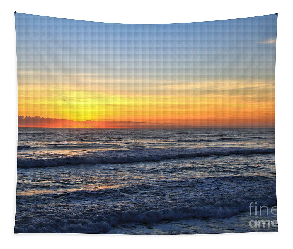 Sunrise Tapestry featuring the photograph Sunrise And Waves by Deborah Benoit