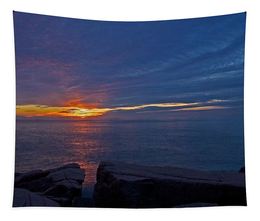 Otter Cliffs Tapestry featuring the photograph Sunrise At Otter Cliffs by Stuart Litoff