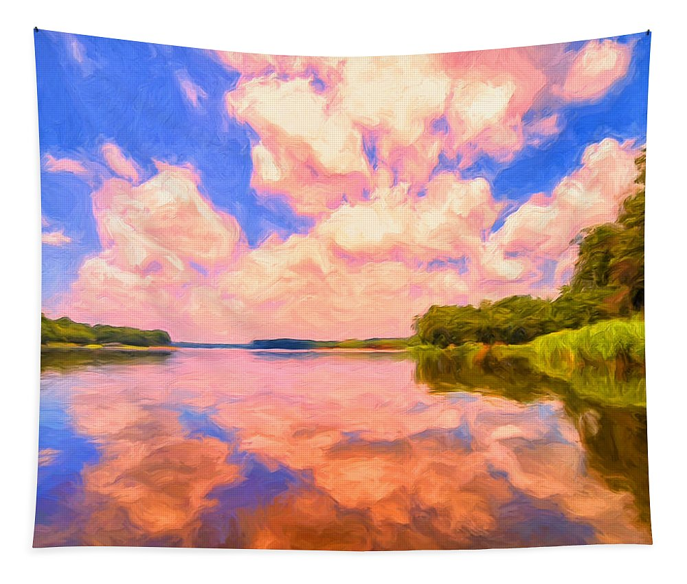 Sunrise Tapestry featuring the painting Sunrise Bayou by Dominic Piperata