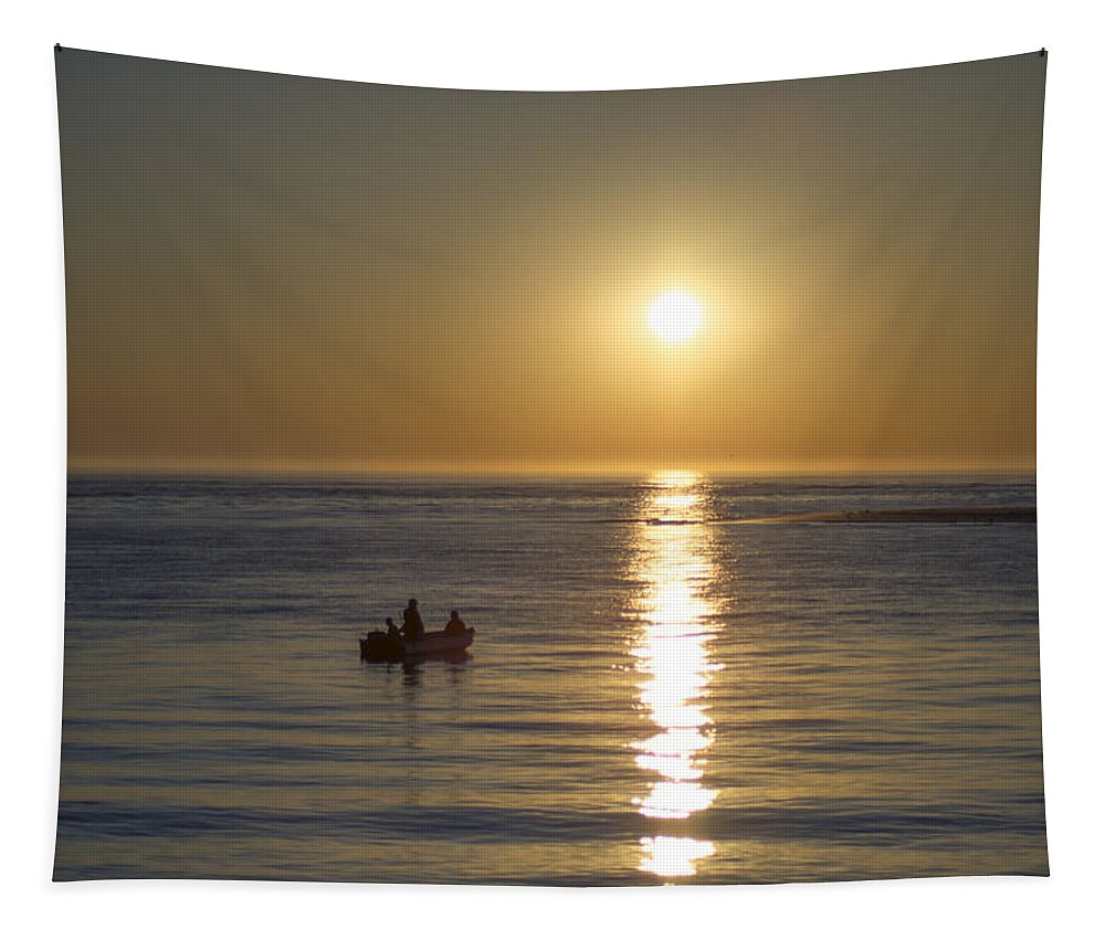 Sunrise Tapestry featuring the photograph Sunrise In Stone Harbor New Jersey by Bill Cannon