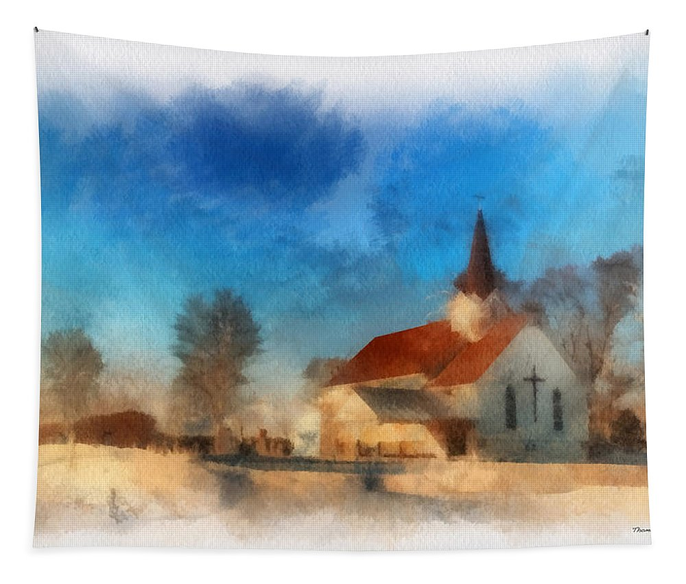 Sunrise Tapestry featuring the photograph Sunrise On A Rural Church 03 by Thomas Woolworth