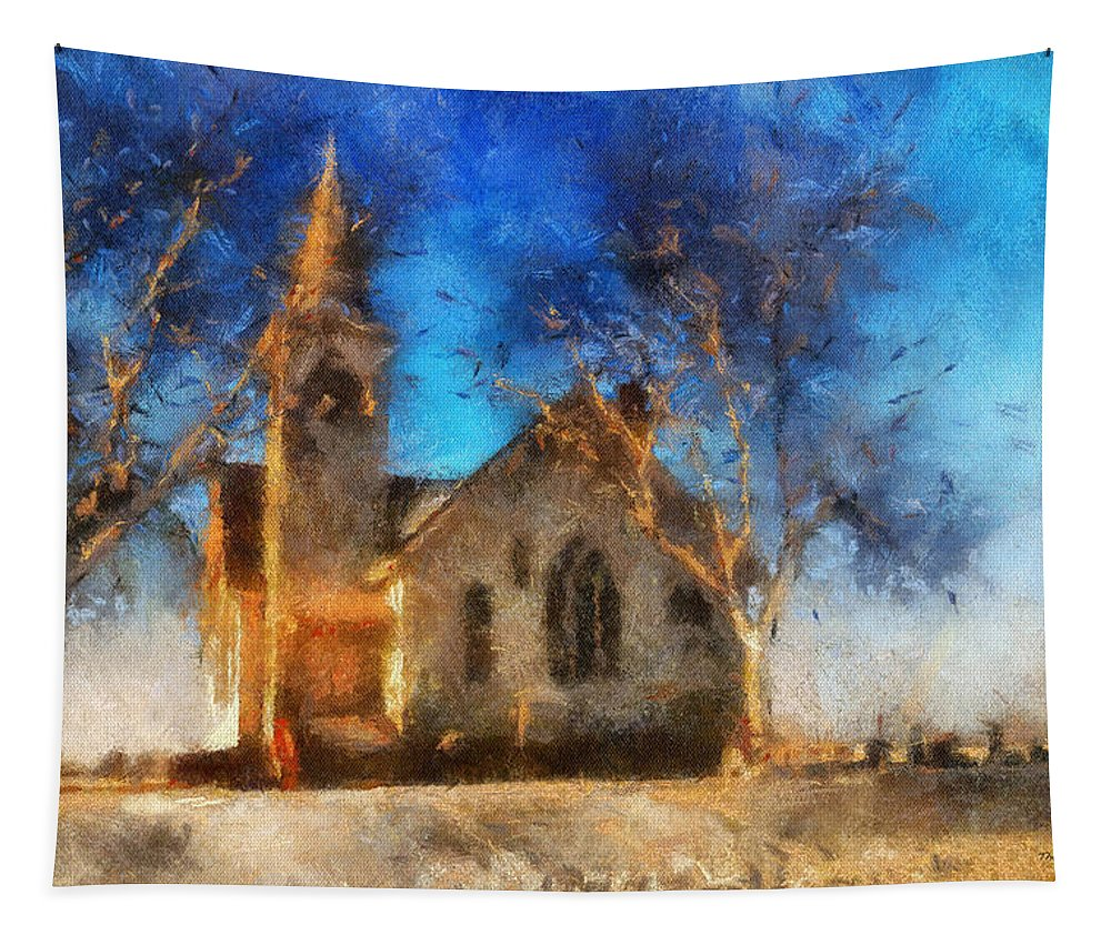 Sunrise Tapestry featuring the photograph Sunrise On A Rural Church 12 by Thomas Woolworth
