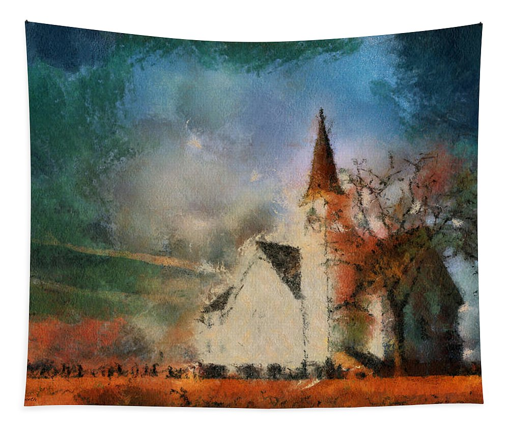 Sunrise Tapestry featuring the photograph Sunrise On A Rural Church 18 by Thomas Woolworth