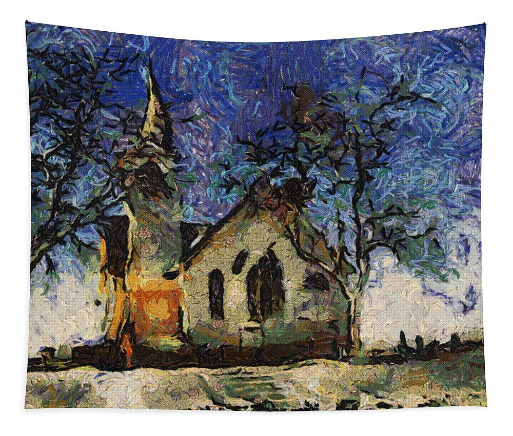 Sunrise Tapestry featuring the photograph Sunrise On A Rural Church 19 by Thomas Woolworth