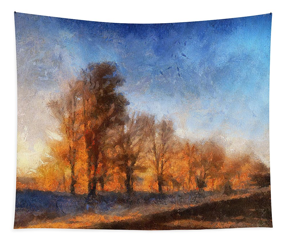 Sunrise Tapestry featuring the photograph Sunrise On A Rural Country Road Photo Art 02 by Thomas Woolworth
