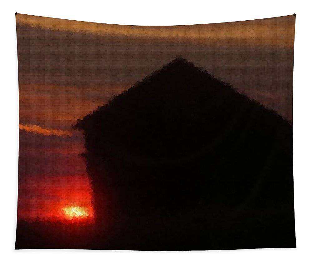 Sunrise Tapestry featuring the photograph Sunrise On An Old Eastern Montana Homestead by Jeff Swan