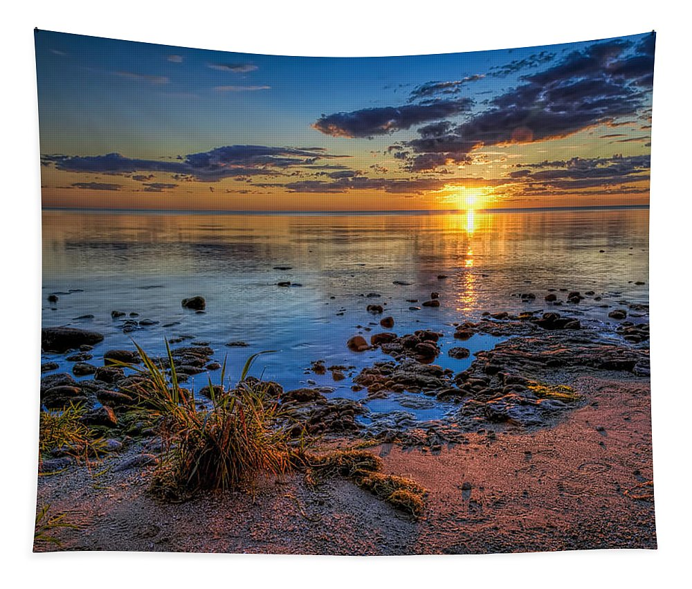 Sun Tapestry featuring the photograph Sunrise over Lake Michigan by Scott Norris