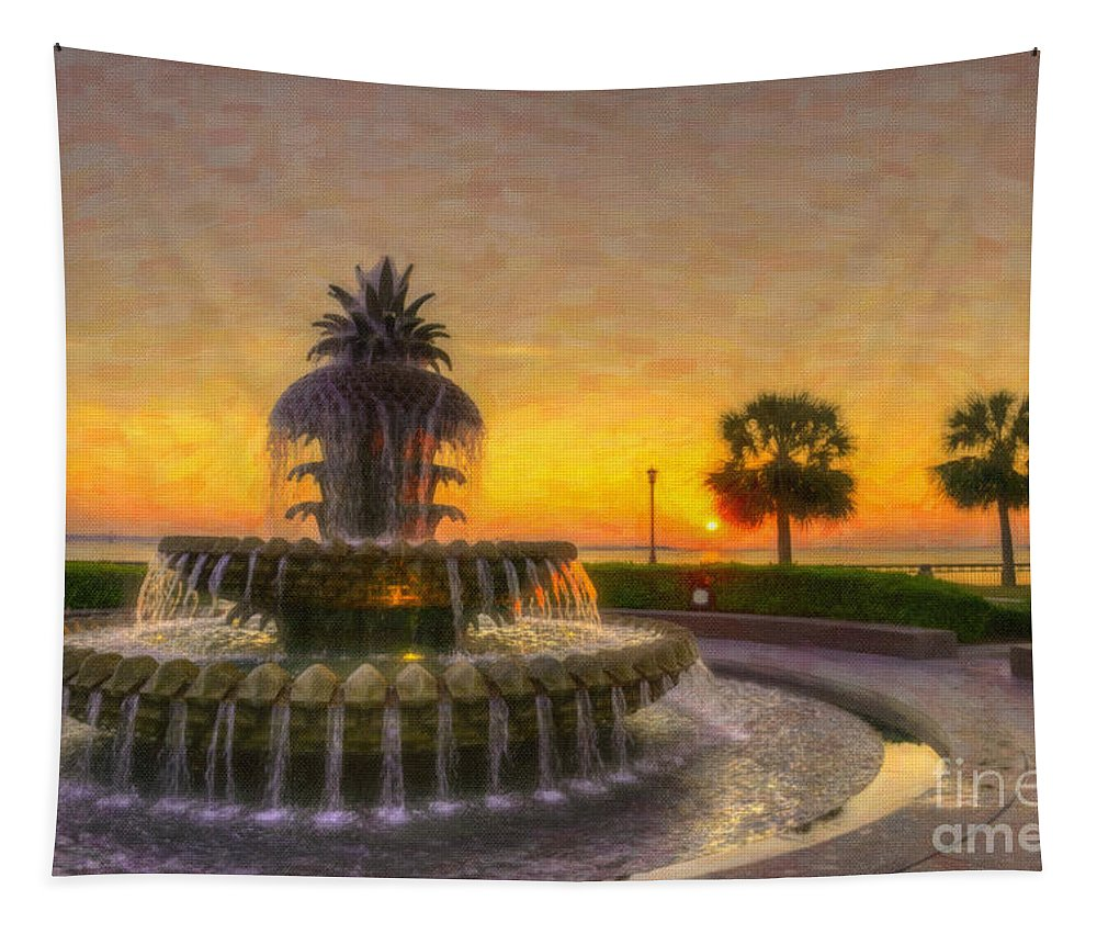 Pineapple Fountain Tapestry featuring the digital art Sunrise Over Pinapple Fountain by Dale Powell