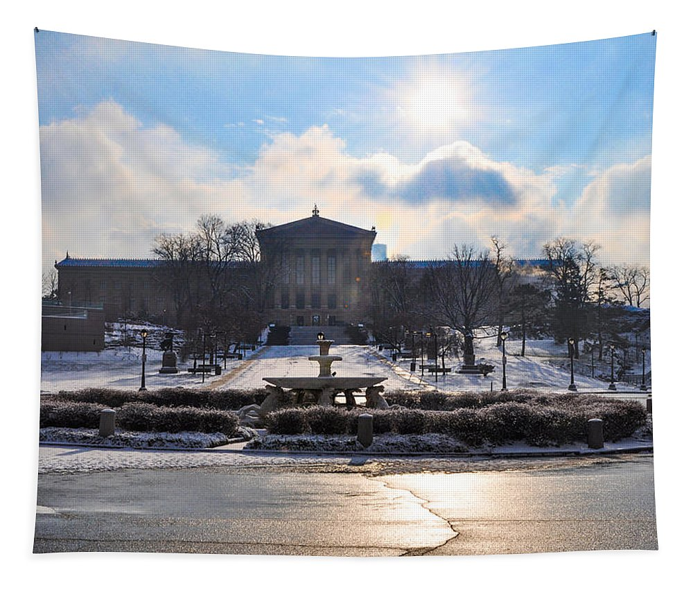 Sunrise Tapestry featuring the photograph Sunrise Over The Art Museum In Winter by Bill Cannon