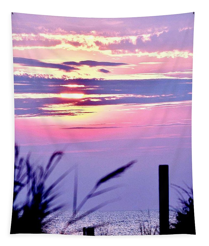 Sunrise Tapestry featuring the photograph Sunrise Through The Dunes by Kim Bemis